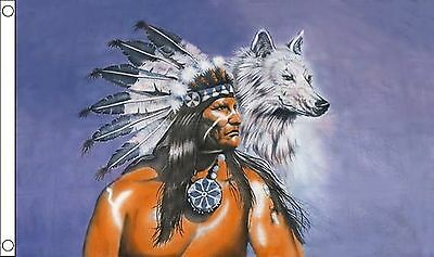 RED INDIAN WITH WOLF 5x3 feet FLAG 150cm x 90cm flags NATIVE AMERICAN
