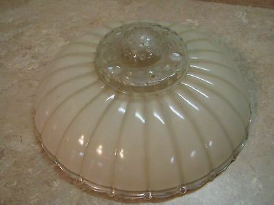 "CREAM/FROSTED & CLEAR GLASS Art Deco CEILING LIGHT FIXTURE SHADE 3-Holes 11"" VTG"