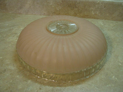 """PINK FROSTED & CLEAR GLASS Art Deco CEILING LIGHT FIXTURE SHADE Ornate 11"""" VTG"""