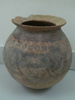 Ancient Huge Size Teracotta Painted Pot With Bulls Indus Valley 2500 BC #PT15671