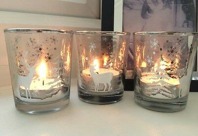 Set of 3 Reindeer Forest Christmas Glass Tea Light Holders Clear & Silver