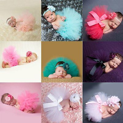 Sweet Newborn Toddler Baby Girl Tutu Tulle Skirt Headband Photo Prop Outfits