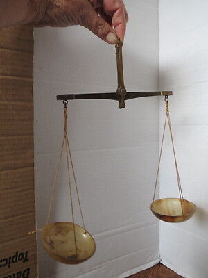 Antique BALANCE SCALE Brass & Horn GERMANY Extremely Rare