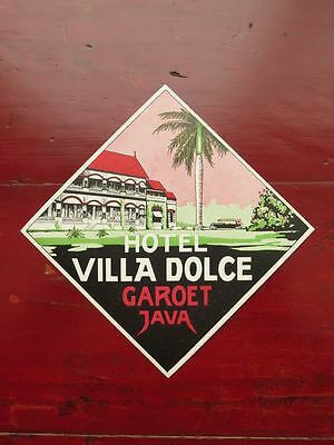 RARE...HOTEL VILLA DOLCE, GAROET, JAVA...MINT ORIGINAL LUGGAGE LABEL...1920s