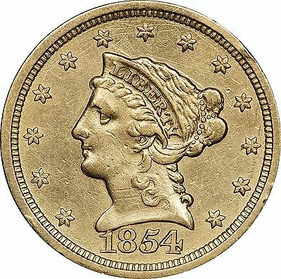 1854 P $2.50 Gold Liberty, Cleaned