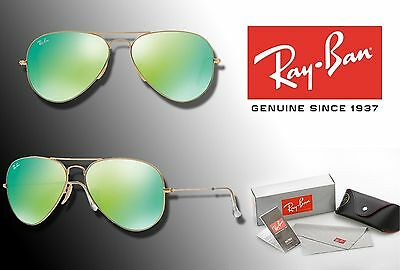 e20cfd3d238c3 New Ray-Ban Original Aviator Rb3025 58 Green Flash Lens   Gold Frame  Sunglasses