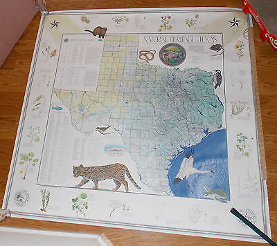 Texas map HUGE Land Office 1986 color Signed by Gary Mauro 5' x 5' very rare
