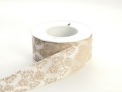 Wired Champagne Baroque Floral Ribbon | 1 1/2 inch width | 22 yards