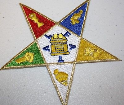 "5"" OES Embroidered Patch Iron-on Shield Emblem - Eastern Star"