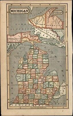Michigan state by itself 1854 Phelps attractive small antique hand color map