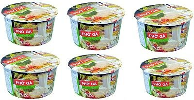 6x Mama Bowl Pho Ga Chicken Flavor 65g Instant Vietnamese Rice Thin Noodle Soup
