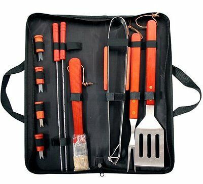 11 PC Stainless Steel Outdoor BBQ Carry Bag With Cooking Tool Utensils NEW