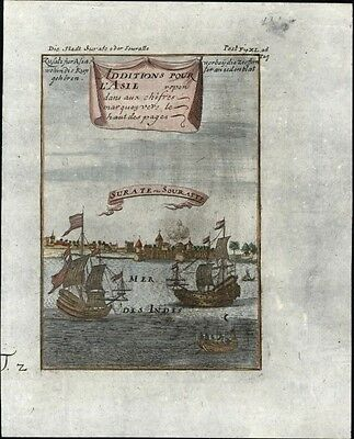 Surate India Suryapur Guajarat 1719 antique engraved early city view prospect