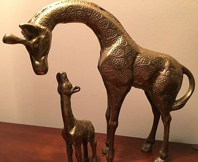 Vintage Mother & Baby Solid Brass Giraffes With Authentic Embellishing (10/4)
