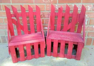 2 Vintage Doll Benchs Faded Red Picket Fence Wood 18x12x8