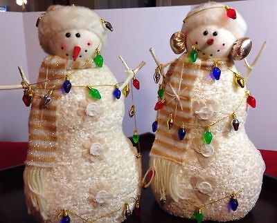 """Ganz Set Of 2 Retired 16"""" Plush Snowmen With Lights Great For Christmas / Winter"""