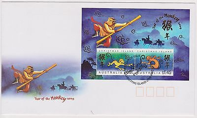 (STE-40) 2001 Christmas Island FDC year of the monkey