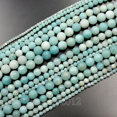Natural Blue Amazonite Smooth Matte Faceted Gemstone Round Loose Beads 15.5""