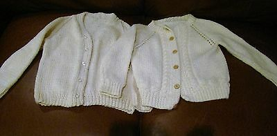 Vintage Lot of 2 Cardigan Sweater Toddler Child Doll Hand Knit Handmade Knitted