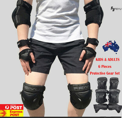 Feiyu Skate Protection - Elbow Pads, Knee Pads, Wrist-Brace Guards - 6 Piece Oz