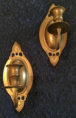Pair of Solid Brass Traditional Williamsburg Style Single Arm Wall Sconces