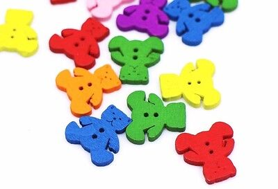 Teddy Bear Wooden Sewing Button 17mm 50pcs