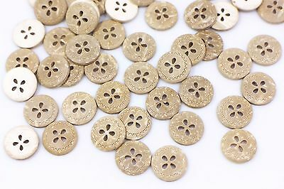 Floral Coconut Shell Button Flower Four Holes Small Natural Brown 13mm 20pcs
