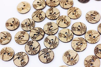 Tree Coconut Shell Button Brown Tree Two Holes Sweater Round Natural 15mm 100pcs