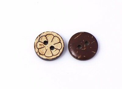 Floral Pattern Coconut Shell Sewing Buttons 13mm 50pcs