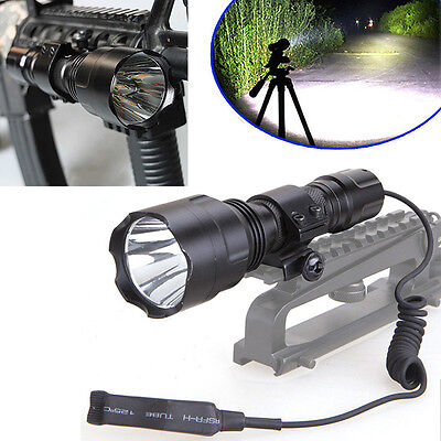 Tactical 5000LM Flashlight XML T6 LED Torch Lamp Pressure Switch W/Mount For Gun