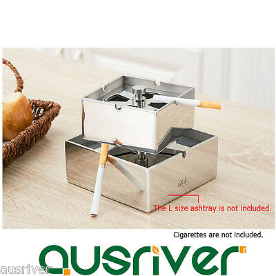 New Stainless Steel Cigarette Ashtray Windproof Smoke Holder Lid Gift Bar S Size