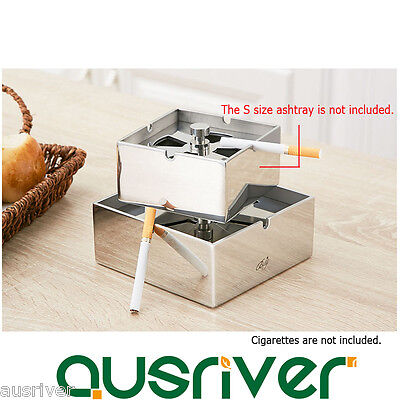 New Stainless Steel Cigarette Ashtray Windproof Smoke Holder Lid Gift Bar L Size