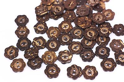 Dark Brown Floral Coconut Shell Button Two Holes Flower Shaped Small 12mm 20pcs