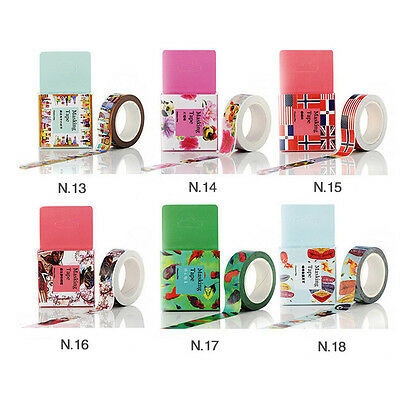 Vintage Craft Washi Tape 15mm×10m Scrapbooking Gift Feather Flag Leaves Style