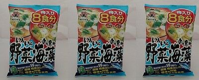 3x Shinsyuichi Japanese Instant Miso Soup Vegetable Seaweed Soy bean Paste 8pack