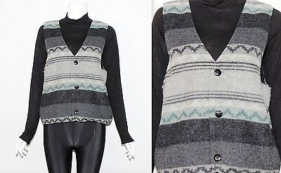 Vintage 80's WOOL Blend Grey Green PATTERNED SLEEVELESS Button Up JACKET GILET M