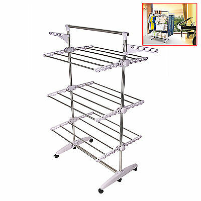 Pro Stainless Foldable 6 Tiers Clothes Hanger Laundry Airer Drying Hanging Rack