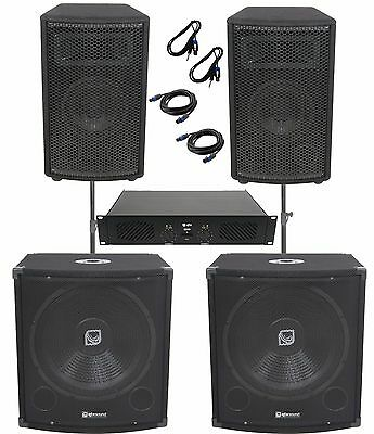 "QTX 1100W Disco DJ Band PA System With Power Amp, 15"" Subs & 12"" Tops + Poles"