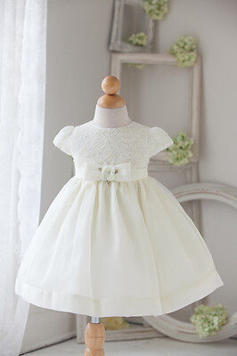 Victoria Ivory Christening/flower Girl Dress With Lace Bodice Age 6-12 Months