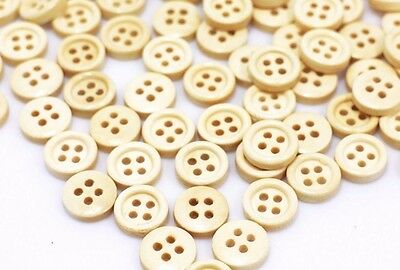 Tiny Beige Wood Sewing Buttons Four Holes Light Brown Blouse Shirt 10mm 100pcs