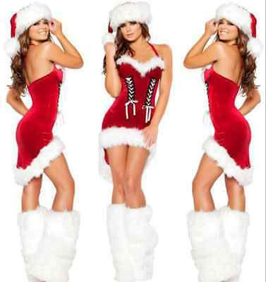 Sexy Ladies Miss Santa Claus Christmas Costume Xmas Party Cosplay Dress Outfit
