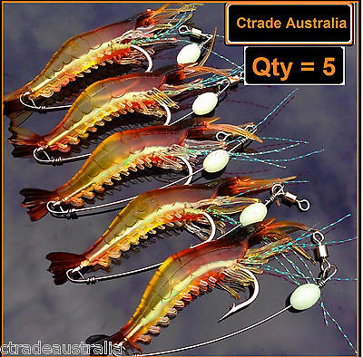 Ctrade Australia 5 x GLOW Rigged Prawn Fishing Lure Soft Plastics Flathead Bream