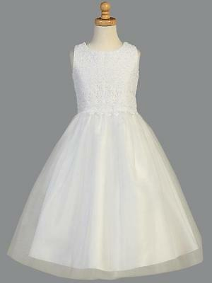 Yvette White Satin And Lace Communion Dress - In Stock