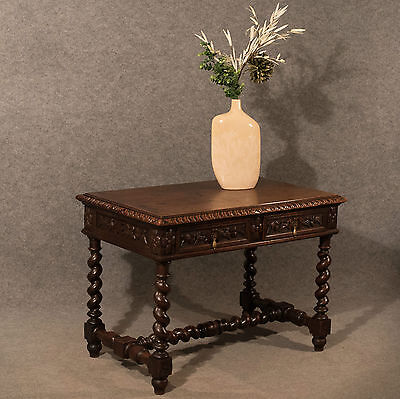 Antique Desk Library Writing Table Side Hall Victorian English Carved Oak c1870