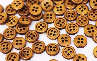 Small Brown Wooden Sewing Button Natural Wood Four Holes Tiny Mini 10mm 100pcs
