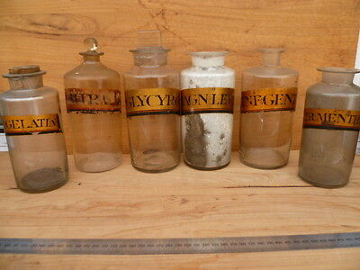 Antique Old Apothecary, Glass Medical Jars Large Lot 'x7' (B424)