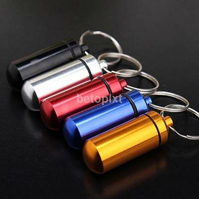 Survival Waterproof Seal Pill Match Box Case Bottle Holder Keychain Container