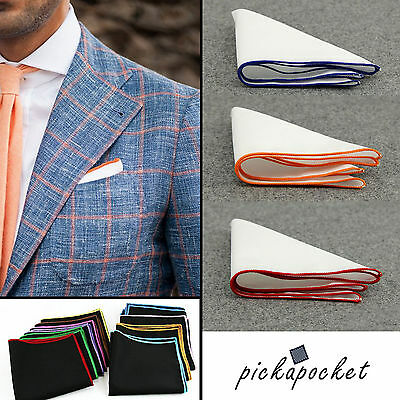 100% White Cotton Pocket Square Handkerchief Hanky Colour Trim Wedding Party Uk