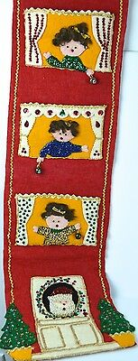 Xmas Card Holder Wall Hanging Felt Jeweled Retro Vtg Ladies Santa Home Complete