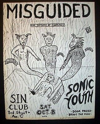 Sonic Youth (Confusion Is Sex Era) Misguided 1983 Sin Club New York Flyer Punk